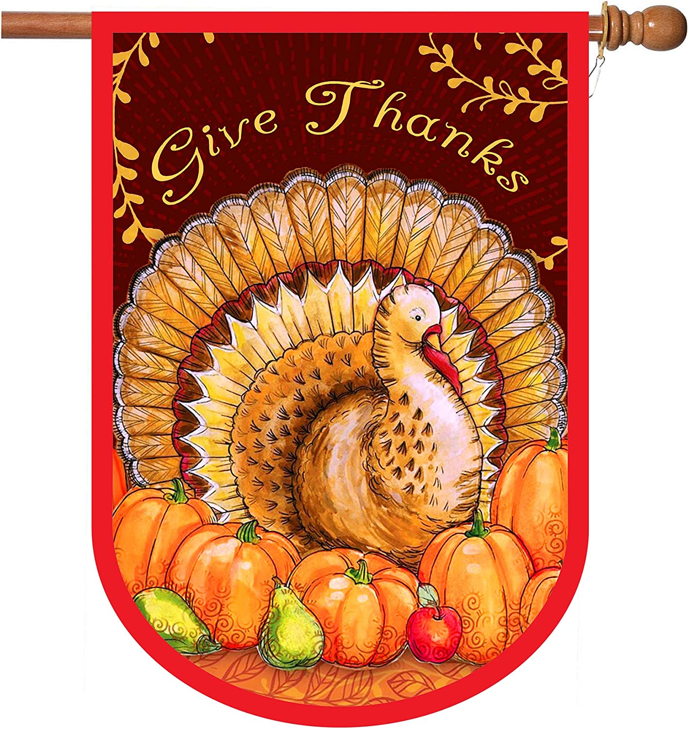 Thanksgiving Flags,Thanksgiving Garden Flag 28 x 40 Inch Thanksgiving Day House Flags Double Sided 2 Layer Thanksgiving Burlap Turkey Yard Flag for Thanksgiving Decoration