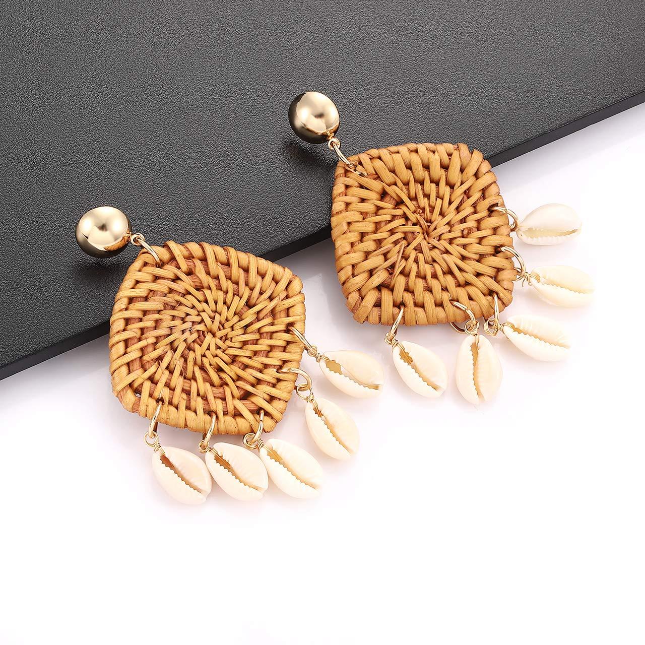 CEALXHENY Shell Rattan Earrings Boho Chandelier Seashell Bead Drop Earrings Handmade Straw Wicker Braid Hoop Dangle Earrings for Women Girls