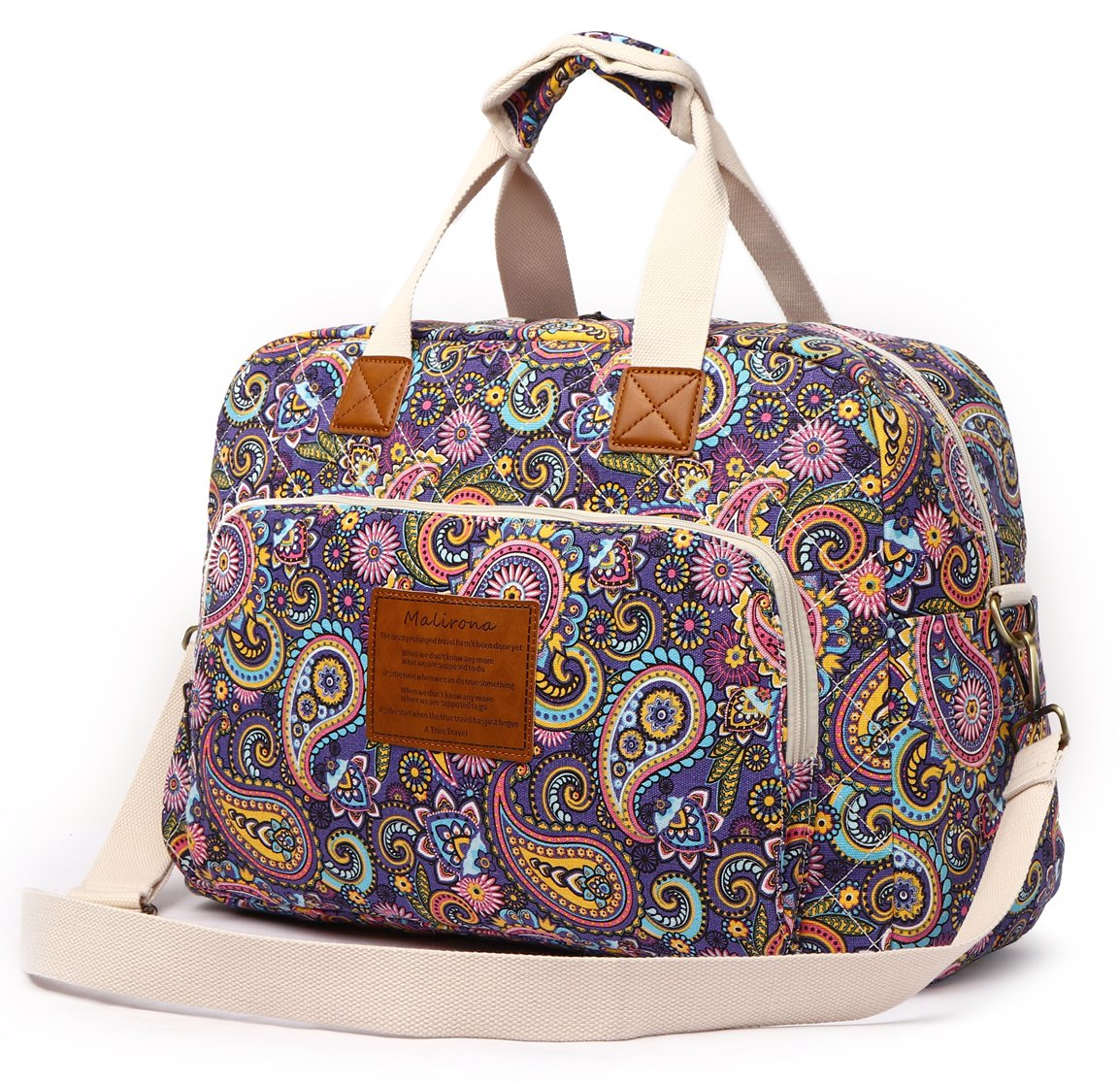 Malirona Canvas Overnight Bag Women Weekender Bag Carry On Travel Duffel Bag Floral (Purple Flower) by Malirona (Image #2)