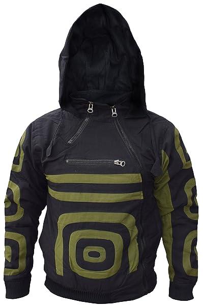 sudadera con capucha para hombre de doble cremallera lateral, algodón y forro polar cálida Nepalí : Amazon.es: Ropa y accesorios