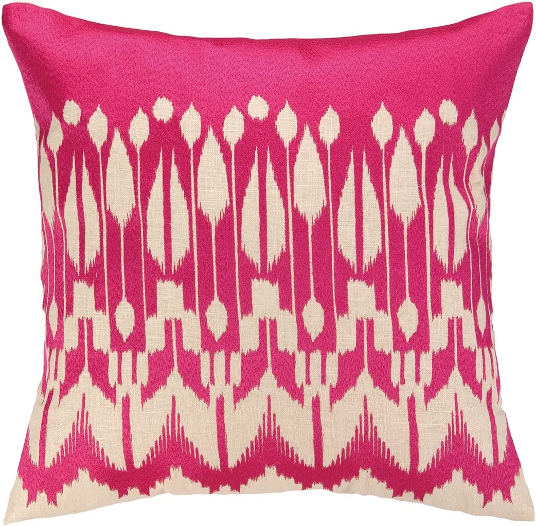 Trina Turk Lomita Embroidered Pillow, 20 by 20-Inch, Pink