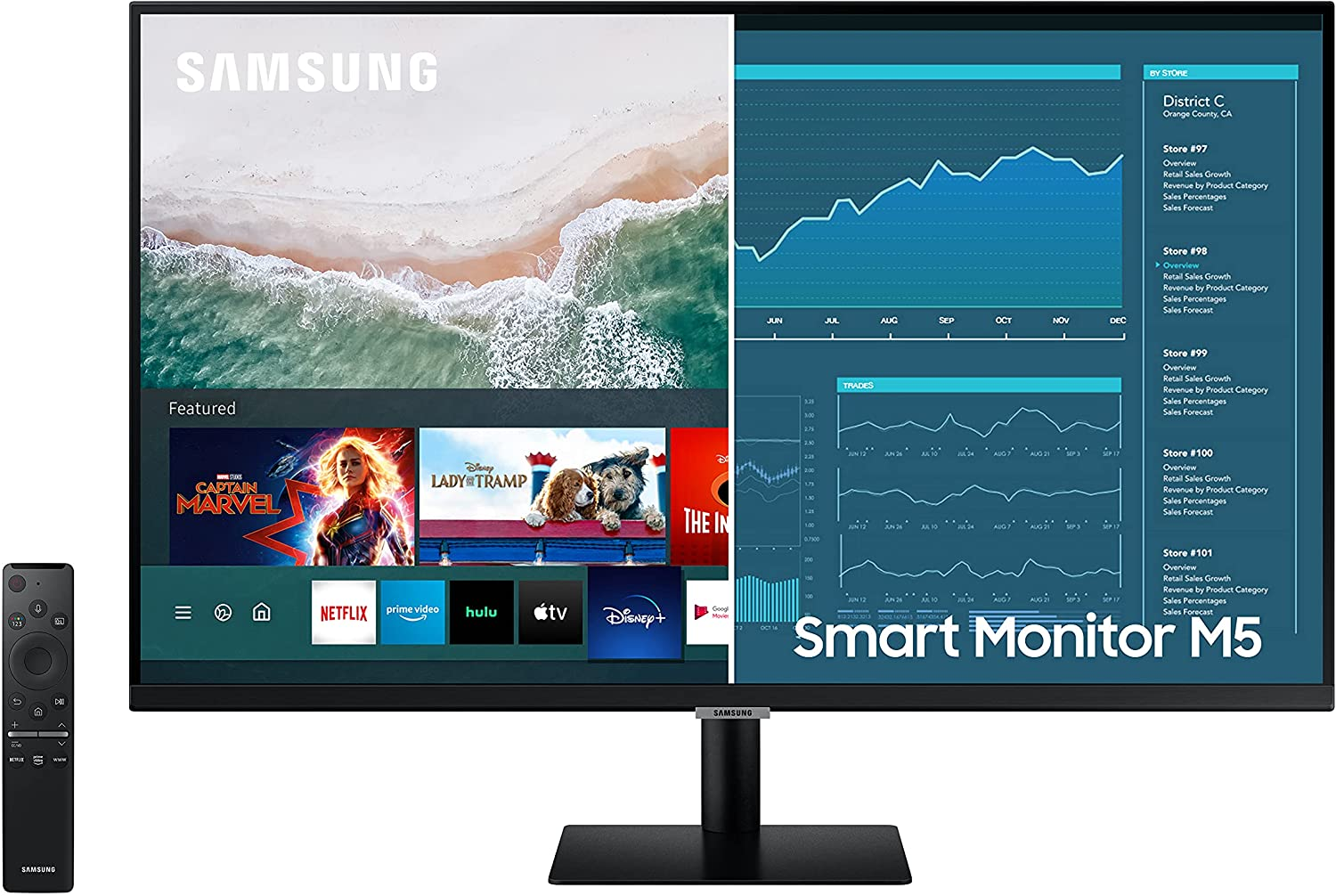 SAMSUNG 27-inch M5 Smart Monitor with Netflix, YouTube, HBO, Prime Video and Apple TV Streaming Tunerless Tuner Free TV(LS27AM500NNXZA), Black