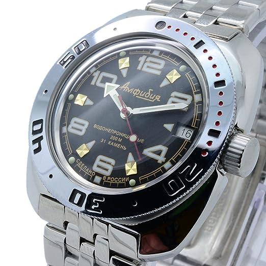 Vostok 710335 de anfibios/2416b ruso Militar reloj automático buzos 200 M de buceo negro: Vostok: Amazon.es: Relojes