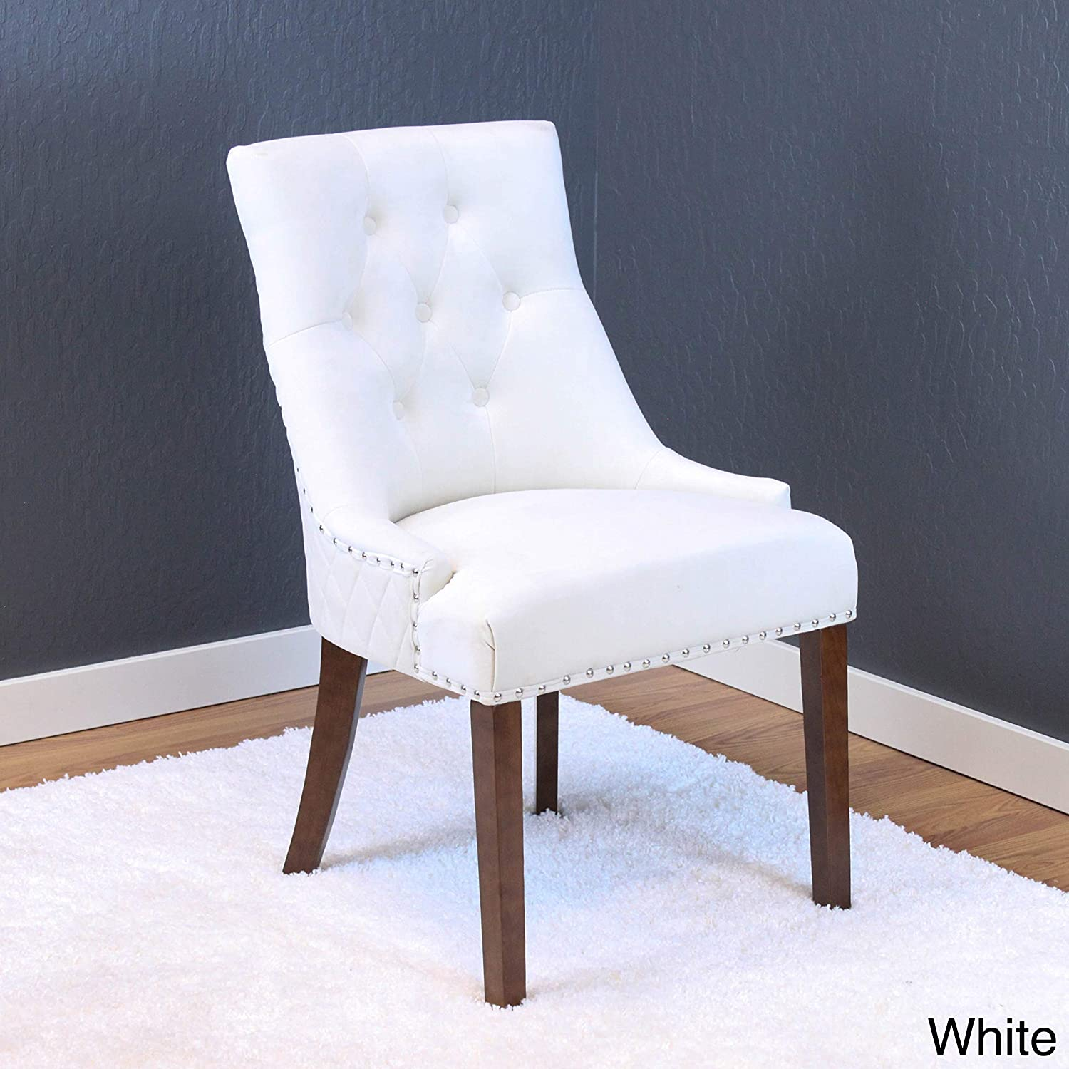 Monsoon Lemele Tufted Velvet Dining Chairs Set of 2 White