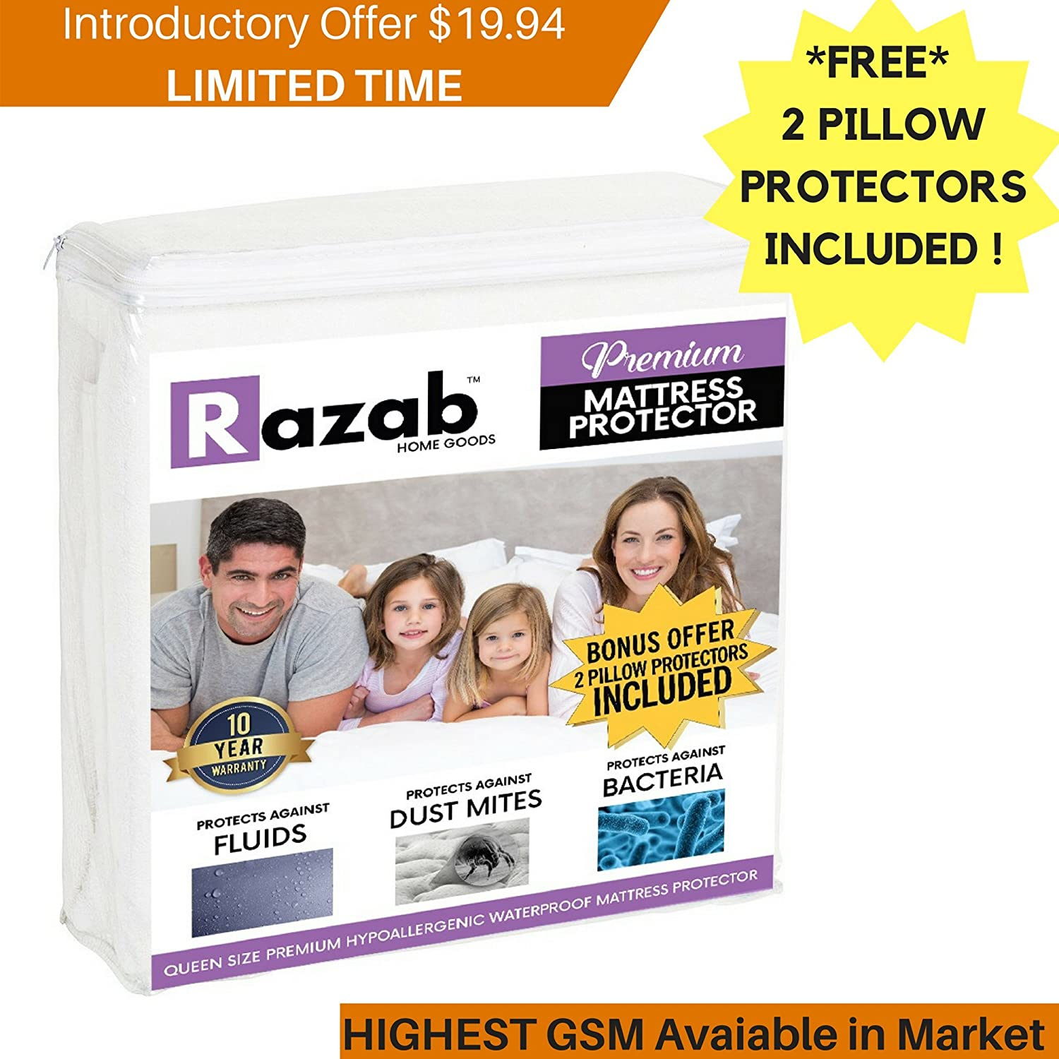 RAZAB Queen Hypoallergenic Waterproof Mattress Protector