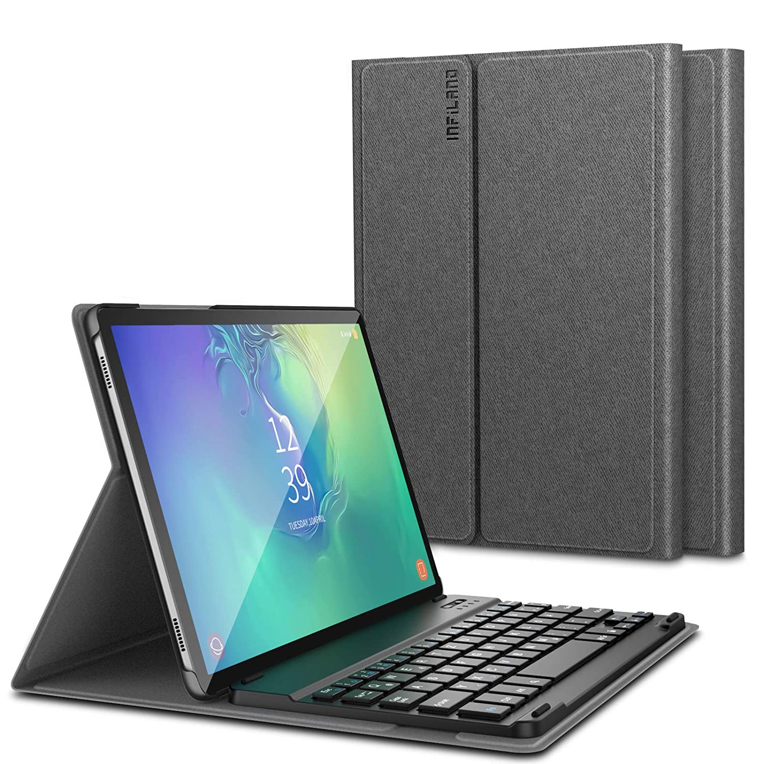 Front Support Case with Detachable Wireless Bluetooth Keyboard compatible with Samsung Galaxy Tab S6 10.5 inch SM-T860//SM-T865 2019,Black Infiland keyboard for Samsung Galaxy Tab S6 10.5