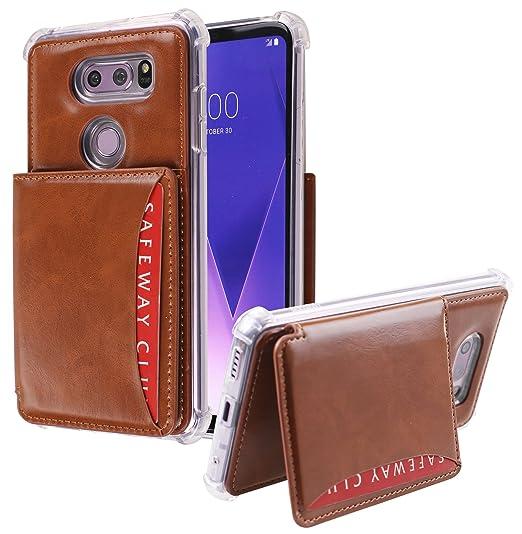 finest selection 514e5 9ed6b LG V30 Wallet Case,[Flip Pocket Bumper] Credit Card Case [Kick Stand]  Protective Hybrid Case with 3 Cards Slot Wallet for LG V30 (Brown, Flip  Pocket)