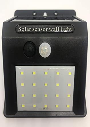 Luz LED de pared con sensor de movimiento de 20 LED, funciona con energía solar