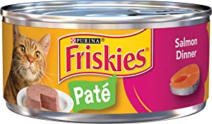 Friskies Classic Pate Salmon Dinner Canned Cat Food 24 - 5.5oz Cans