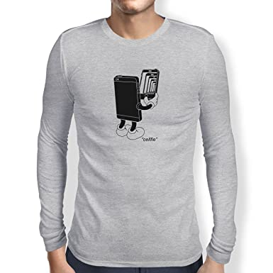 Texlab Cellfie - Herren Langarm T-Shirt, Größe S, Grau Meliert