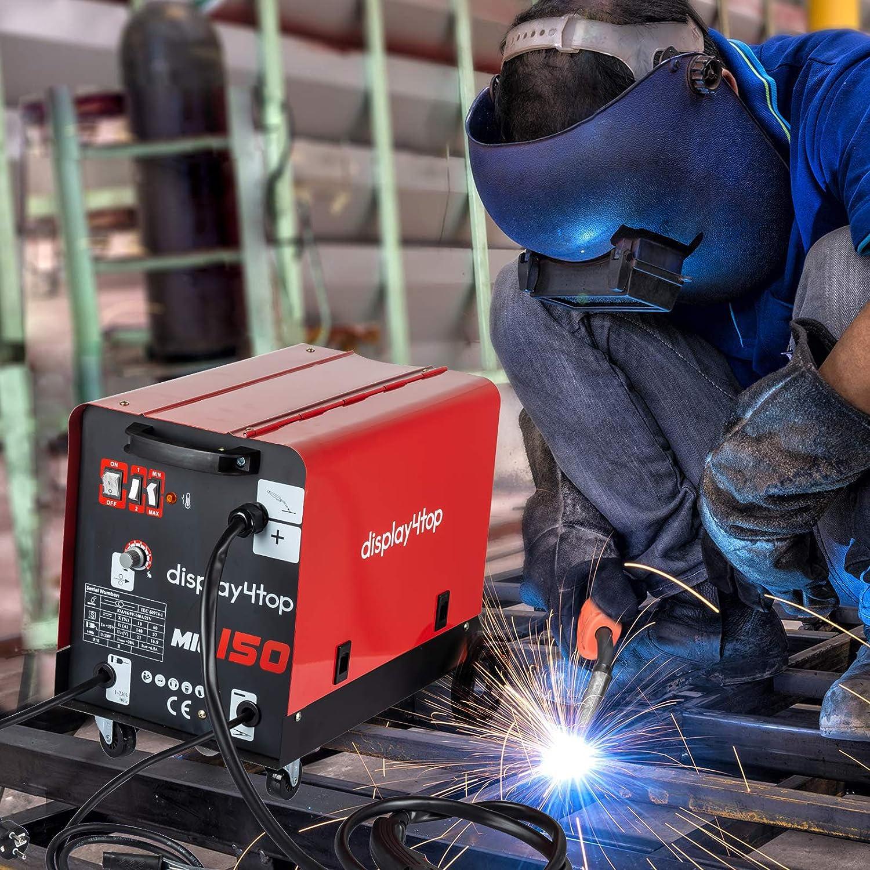 Display4top Soldador hilo continuo sin gas MIG 150 230V Máquina de Soldadora Aparato Eléctrico de Soldadura Máquina de Soldar Portátil para Casa Color Rojo: ...