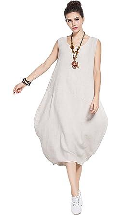 Anysize Summer Sleeveless Soft Linen Cotton Lantern Dress Plus Size Dress  Y83 Beige 352bcd7f74f2
