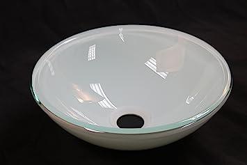 Bathroom Glass Vessel Sink 12 Diameter 4 25 High Double Layer Glass White Amazon Com