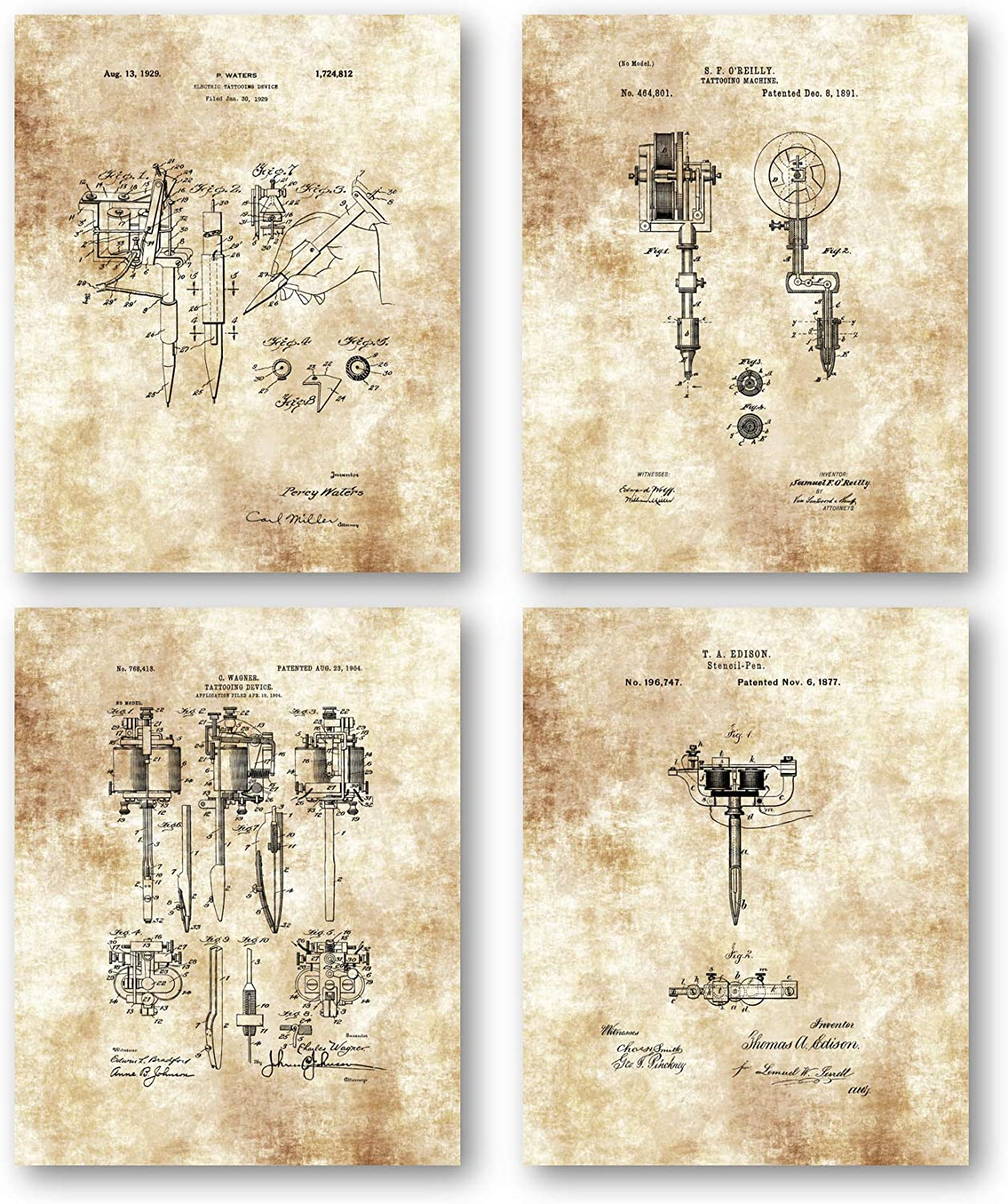Original Tattoo Machine Drawings Artwork - Set of 4 8 x 10 Unframed Patent Prints - Great Gift for Tattoo Artists and Inkaholics - Vintage Tattoo Parlor Decor - Mancave Art