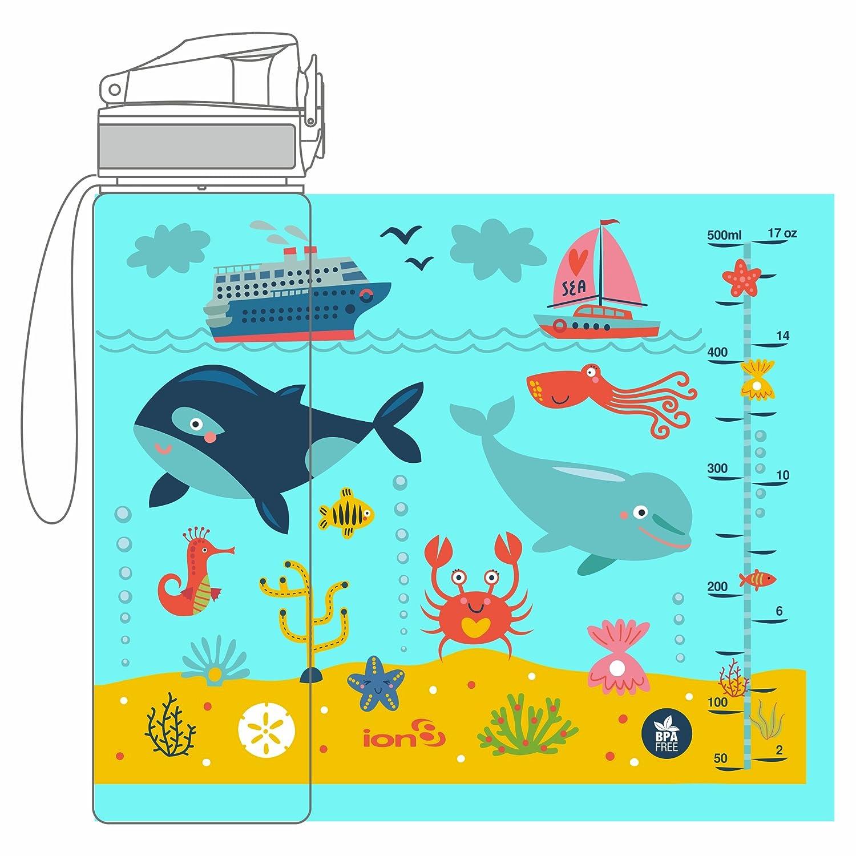 ion8 a prueba de fugas de mar vida Slim botella de agua, sin BPA, 500 ml/18 onzas: Amazon.es: Deportes y aire libre