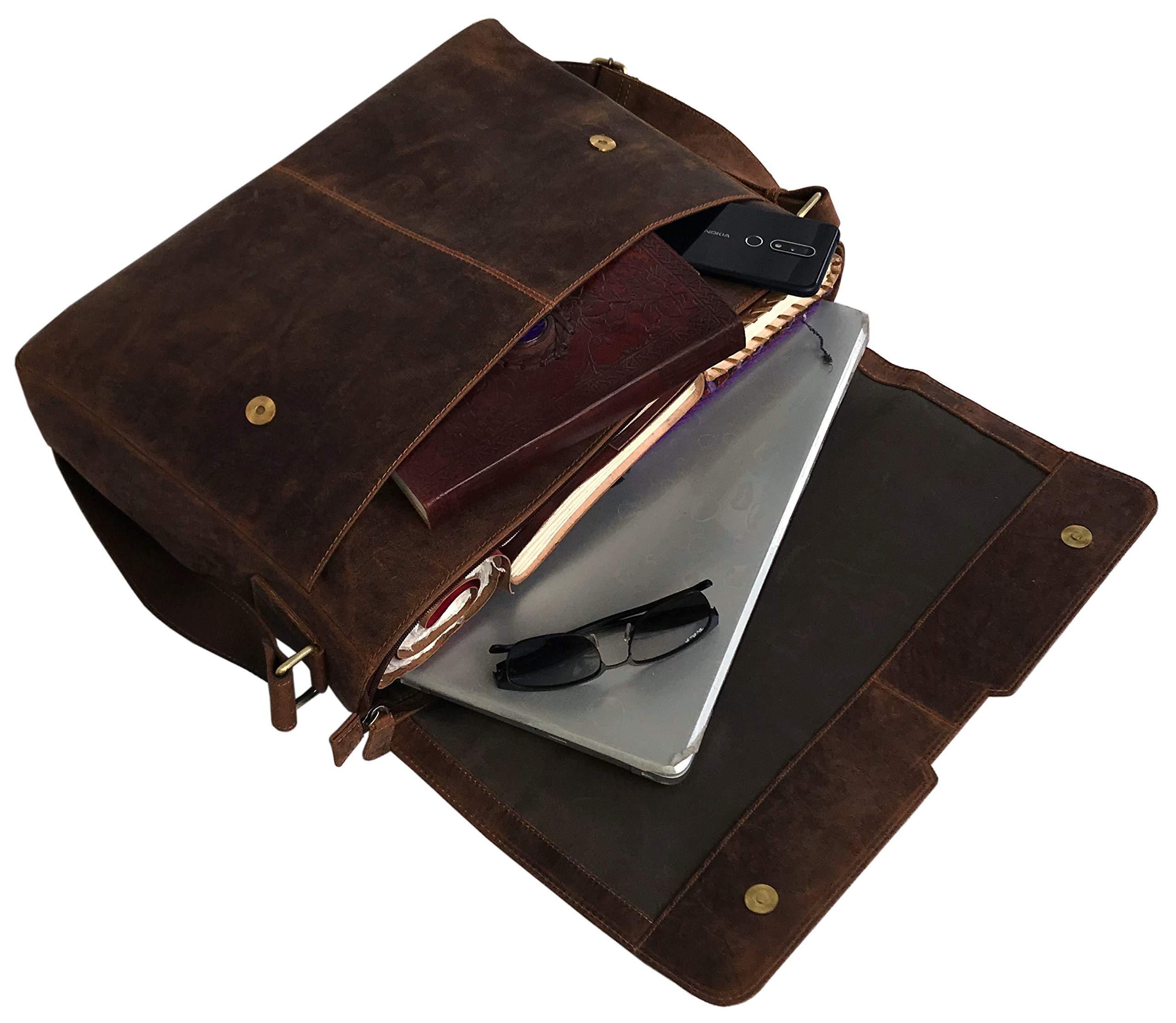 18'' Leather Messenger Bag Vintage Buffalo Satchel Laptop Briefcase Unisex Computer Bags for Men Women (Vintage Brown) by cuero (Image #5)