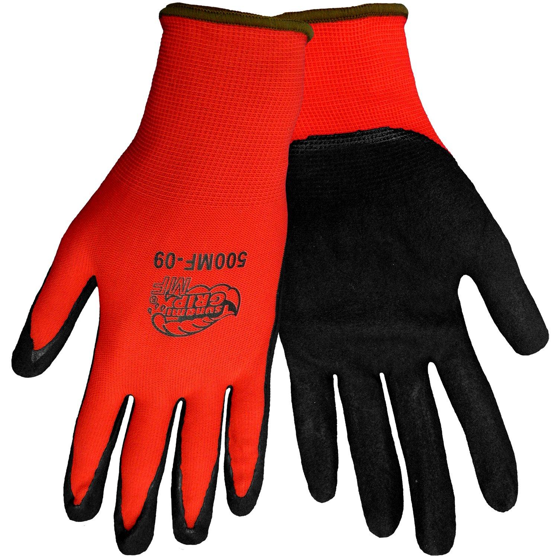 Global Glove 500MF Tsunami Grip Nitrile Glove, Work, Extra Large, Red/Black (Case of 72)