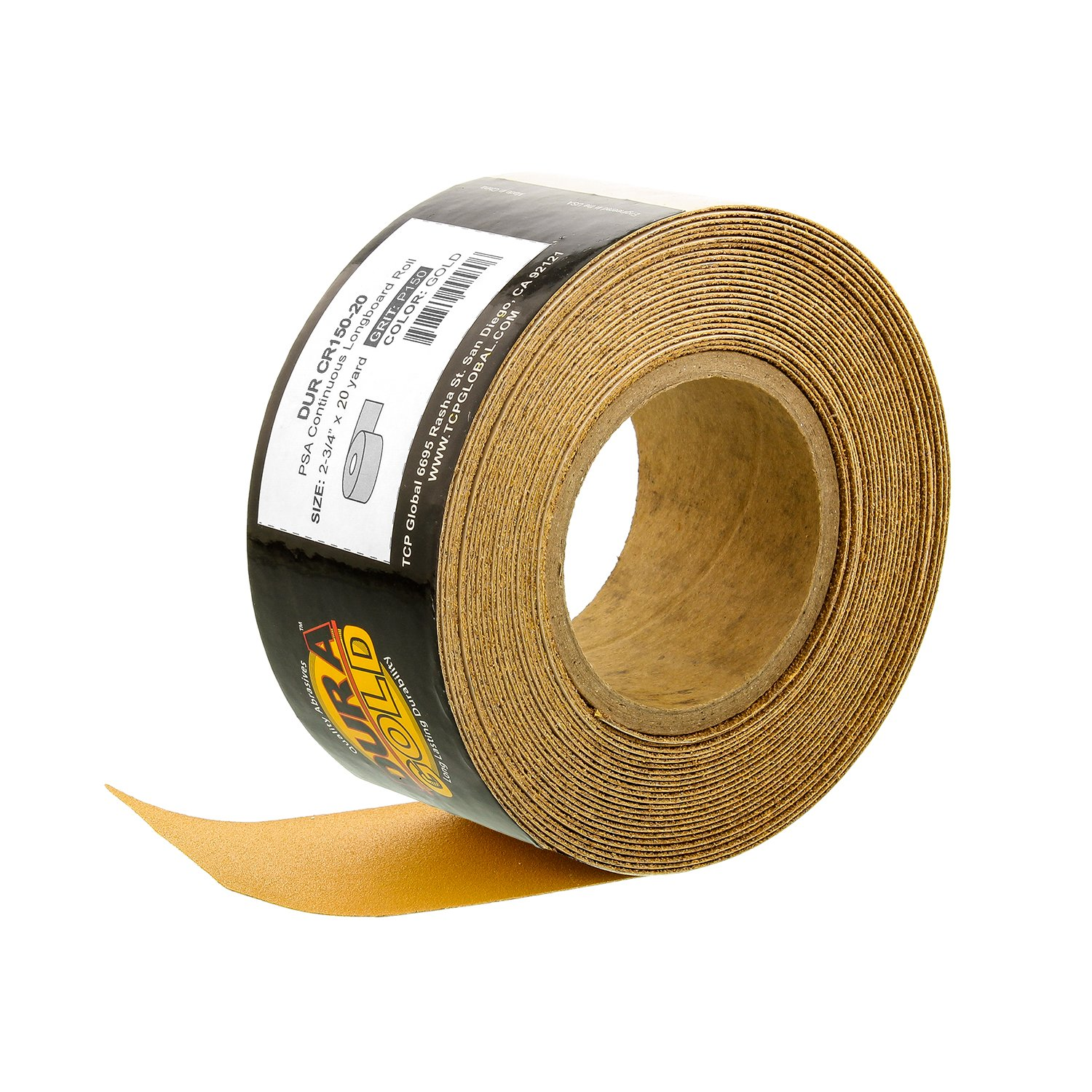 Dura-Gold - Premium - 150 Grit Gold - Longboard Continuous Roll 20 Yards Long by 2-3/4'' Wide PSA Self Adhesive Stickyback Longboard Sandpaper for Automotive and Woodworking