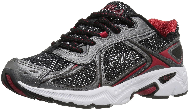 Fila Boys' Quadrix Running Shoe Black/Dark Silver Red Size 12 M 3SR20740