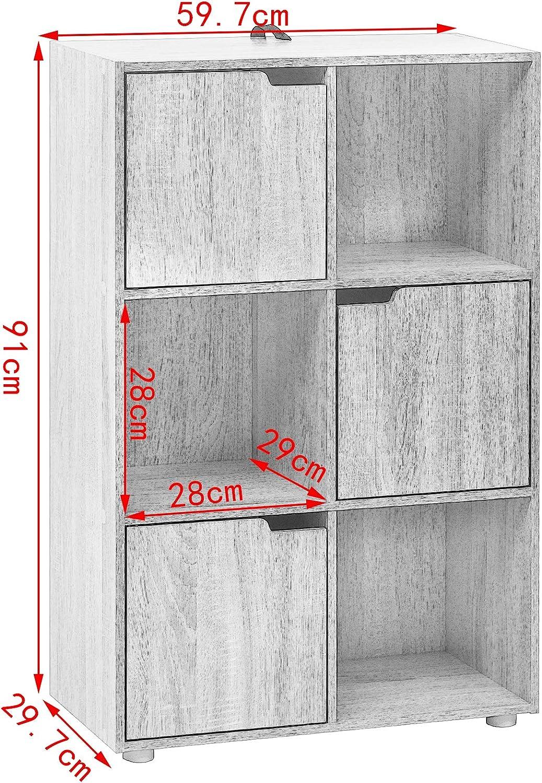 WOLTU Bibliothèque Armoire Etagère de Rangement 60x30x91cm en MDF pour Salon Bureau avec 3 Portes 6 Compartiments,SK001hei