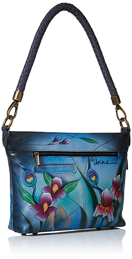 87e8ed8f0 Amazon.com: Anna by Anuschka Hand Painted Leather Women's Shoulder HOBO,  Midnight Peacock-Grey: Clothing