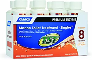 Camco TST Pine Scent Marine Head Toilet Treatment, Formaldehyde Free, Breaks Down Waste and Tissue, Septic Tank Safe, Treats up to 8 - 40 Gallon Holding Tanks (8-pack of 4 ounce singles)
