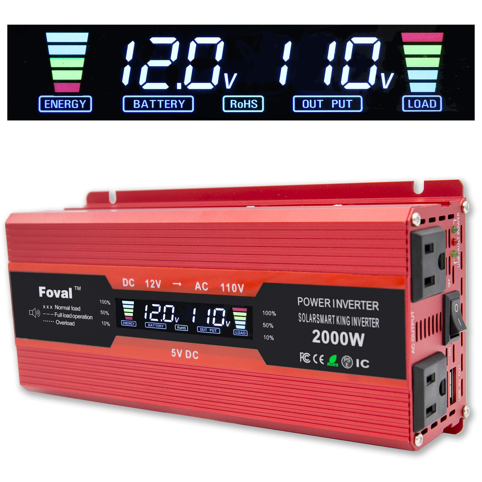 Cantonape 1000W/2000W(Peak) Car Power Inverter DC 12V to 110V AC Converter with LCD Display Dual AC Outlets and Dual USB Car Charger for Car Home Laptop Truck (Red) by Cantonape