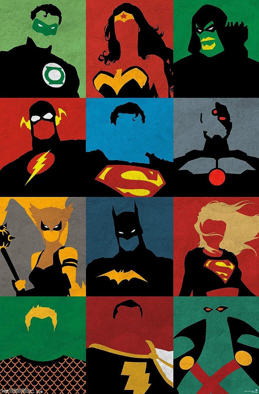"Trends International DC Comics - Justice League - Minimalist Wall Poster, 22.375"" x 34"", Premium Unframed Version"