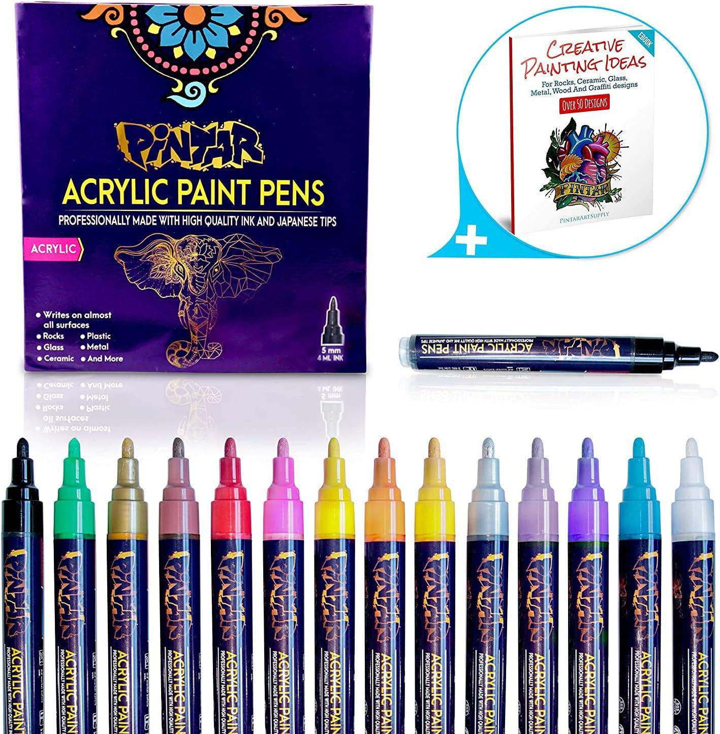 PINTAR Premium Acrylic Paint Pens - (14 Colors) Medium Tip Pens For Rock Painting, Ceramic Glass, Wood, Paper, Fabric & Porcelain, Water Resistant Paint Set, Surface Pen, Craft Supplies, DIY Project