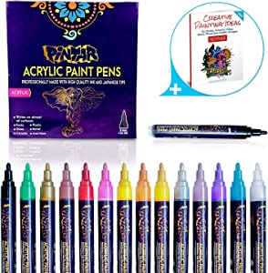 PINTAR Premium Acrylic Paint Pens - (14 Colors) Medium Tip Pens For Rock Painting, Ceramic Glass, Wood, Paper, Fabric & Porcelain, Water Resistant Paint Set, Surface Pen, Craft Supplies, DIY Project