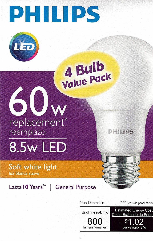 Philips New 60 Watt Equivalent A19 LED Light Bulb Soft White 2700K 4 Pack