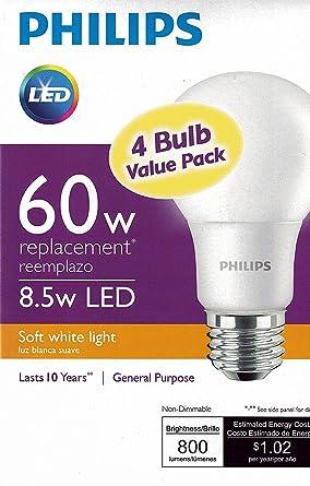 Philips New 60 Watt Equivalent A19 LED Light Bulb Soft White   2700K   4