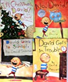 David Shannon Set Pack of 4 Books, It's Christmas David, No David, David Gets in Trouble, David Goes to School