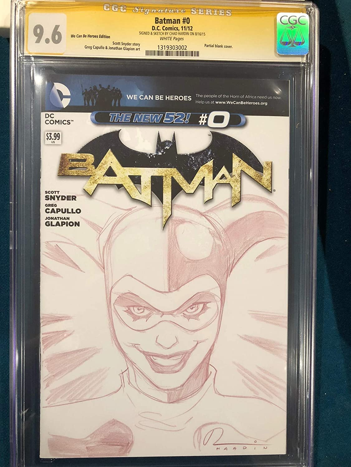 Chad hardin original harley quinn sketch art signed cgc 9 6 joker batman at amazons entertainment collectibles store