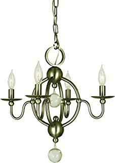 "product image for Framburg 1159 BN 4-Light Quatrefoil Mini Chandelier, 52"" x 18"" x 16"", Brushed Nickel"