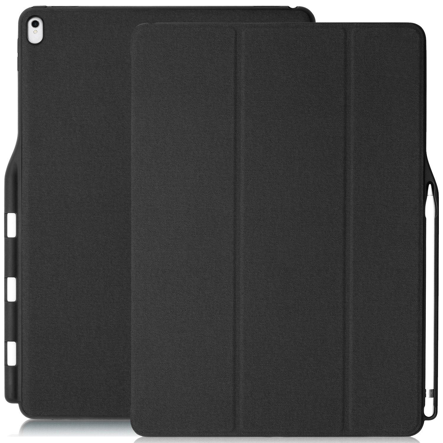 buy online d2ac5 48d62 Details about iPad Pro 12.9 Inch Case with Pen Holder - DUAL Charcoal Gray  Super Slim Cover