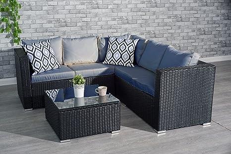 new styles b0ce9 fa5fc YAKOE Garden Furniture 5 or 9 Seater Rattan Corner Sofa Set Table Stool  Conservatory Patio Set (5 Seater Furniture Set, Black)
