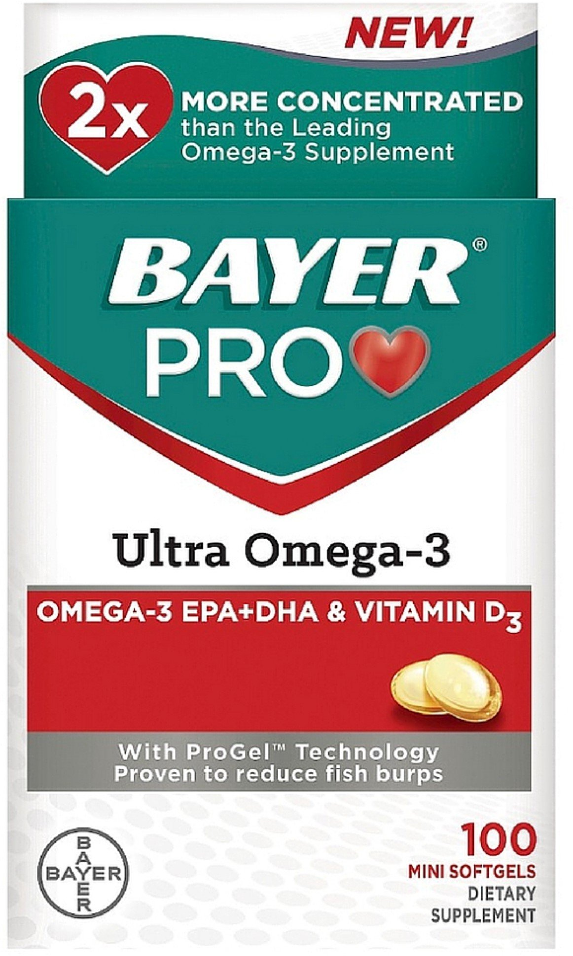 Bayer Pro Ultra Omega-3 Dietary Supplement Softgels 100 ea (Pack of 6)