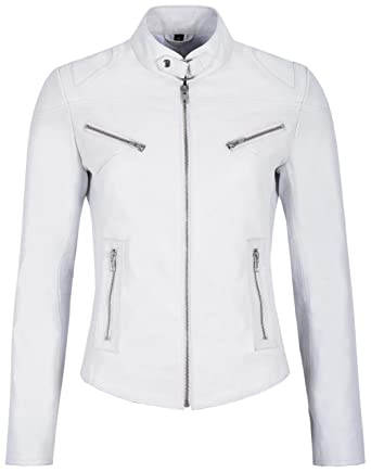 Speed Ladies Real Leather Jacket White Napa Cool Retro Biker Style SR-01 (