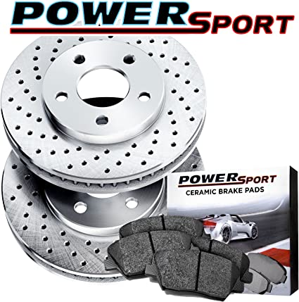 Front Drilled Slotted Brake Rotors /& Ceramic Pads For 2003 Mercedes Benz SL550