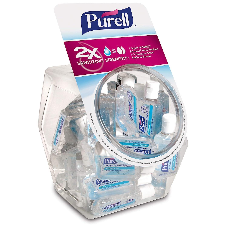 PURELL Advanced Hand Sanitizer, Refreshing Gel, 36 - 1 fl oz Portable, Travel Sized Flip Cap Bottles with Display Bowl – 3901-BWL