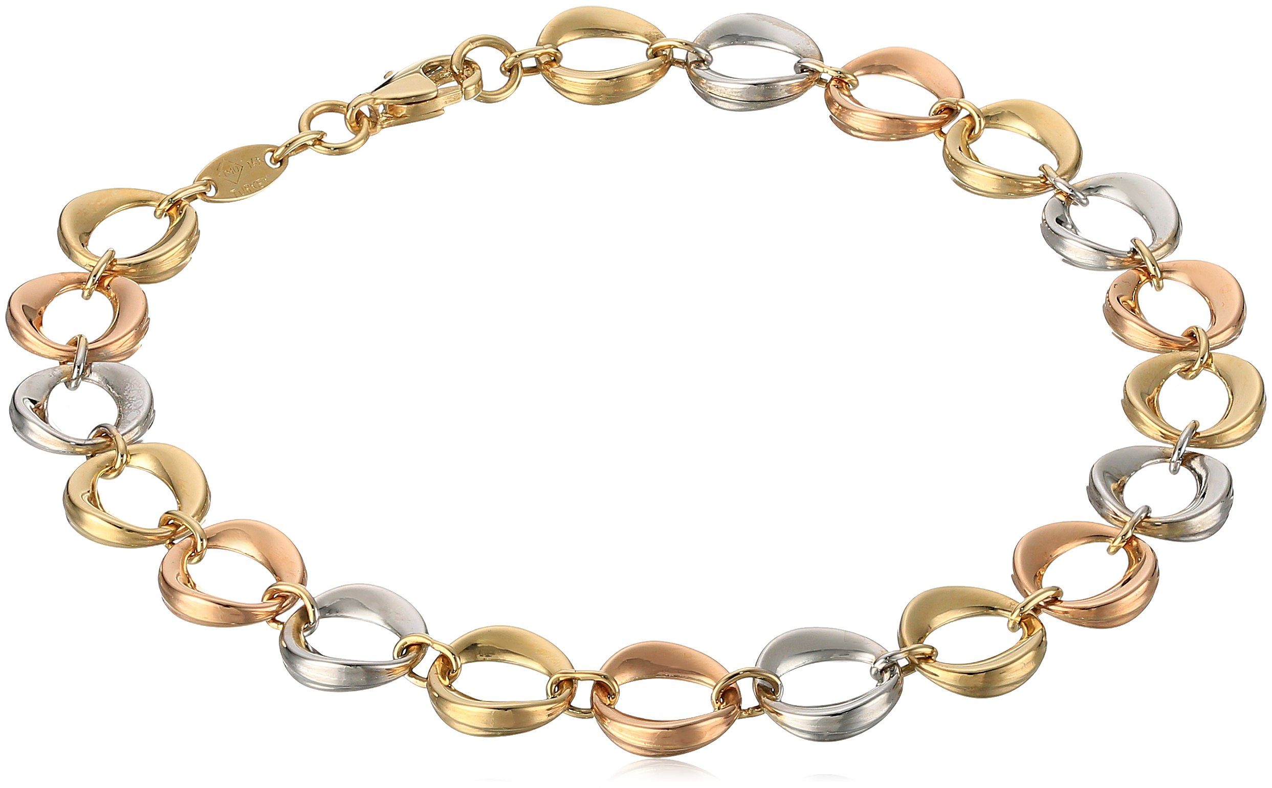14k Tri Color Gold Link Bracelet, 7.5''