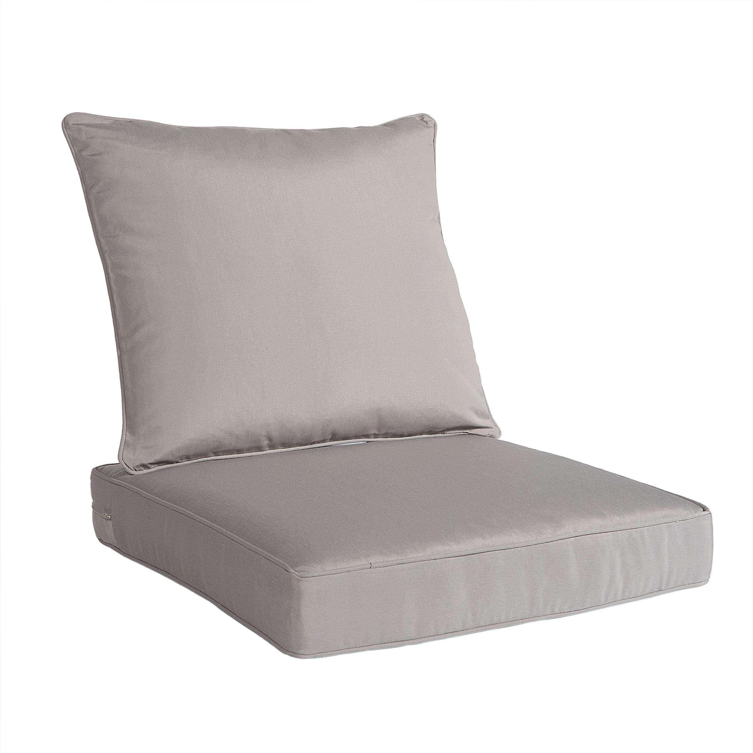 Art Leon Outdoor/Indoor Patio Deep Seat Chair Cushion Set, Including One Backrest and One Seat Cushion (Grey) by Art Leon