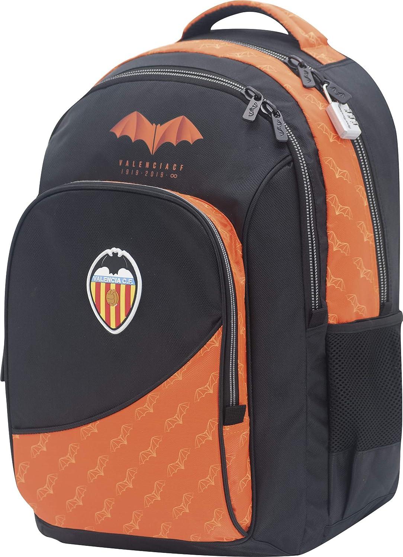 Mochila Valencia CF Centenario Doble Cuerpo Adaptable a Carro Gran Capacidad Color Negro y Naranja 34x45x15 cm: Amazon.es: Equipaje