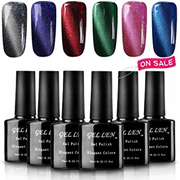 Gellen 3D Cat Eye UV LED Gel Nail Polish Kit 10ml 6 Colors Free Magnet