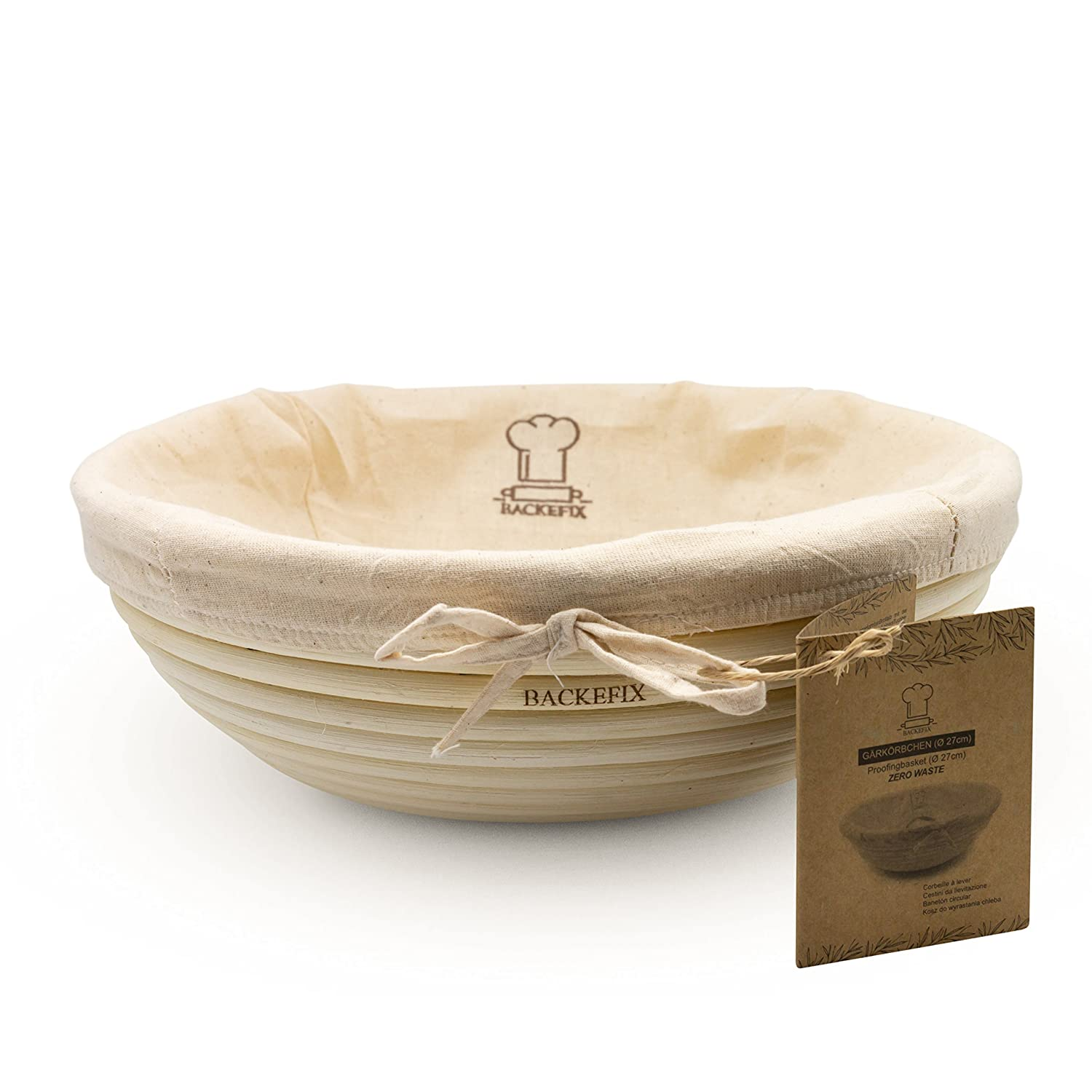 BackeFix Round Bread Proving Basket For Your Own Bread/Zero Waste Natural Wooden Bowl ø 27 cm, natural, 27 cm