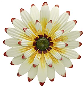 "Juegoal 16"" Large Metal Flower Wall Art Inspirational Daisy Wall Decor Hanging for Indoor Outdoor Home Bedroom Living Room Office Garden, White"
