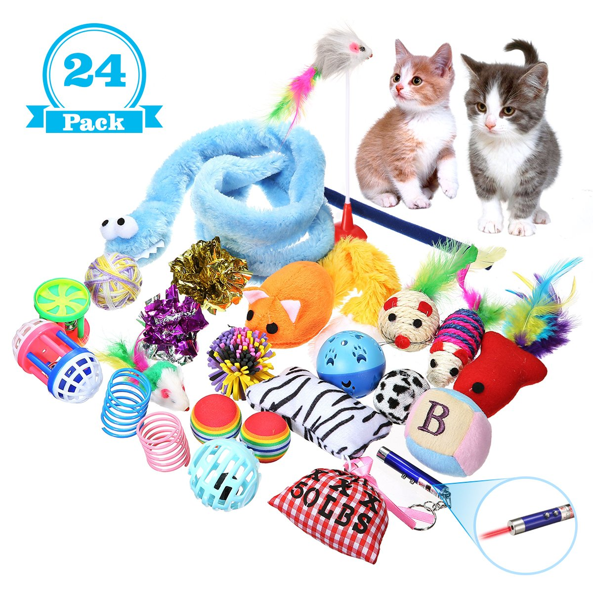 24 Packs FOCUSPET Cat Toys Variety Pack, Cat Toys for Exercise, Interactive LED Light,Cat Teaser Wand, Interactive Feather Toy Fluffy Mouse, Mylar Crinkle Balls Catnip Pillow for Kitten Kitty (24PACK)