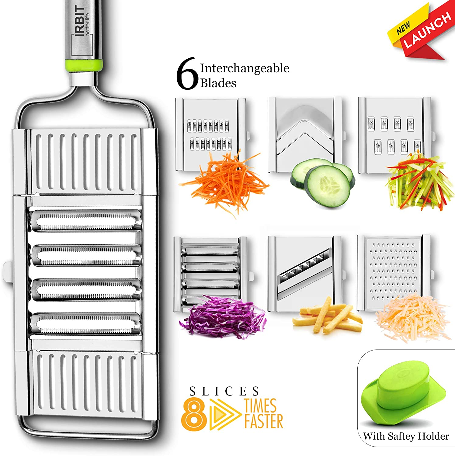 Mandoline Slicer Cheese Grater Julienne Maker and Vegetable Cutter fruit Dicer cabbage Shredder | Premium multipurpose handy 6 in 1 Stainless Steel Mandolin slicer