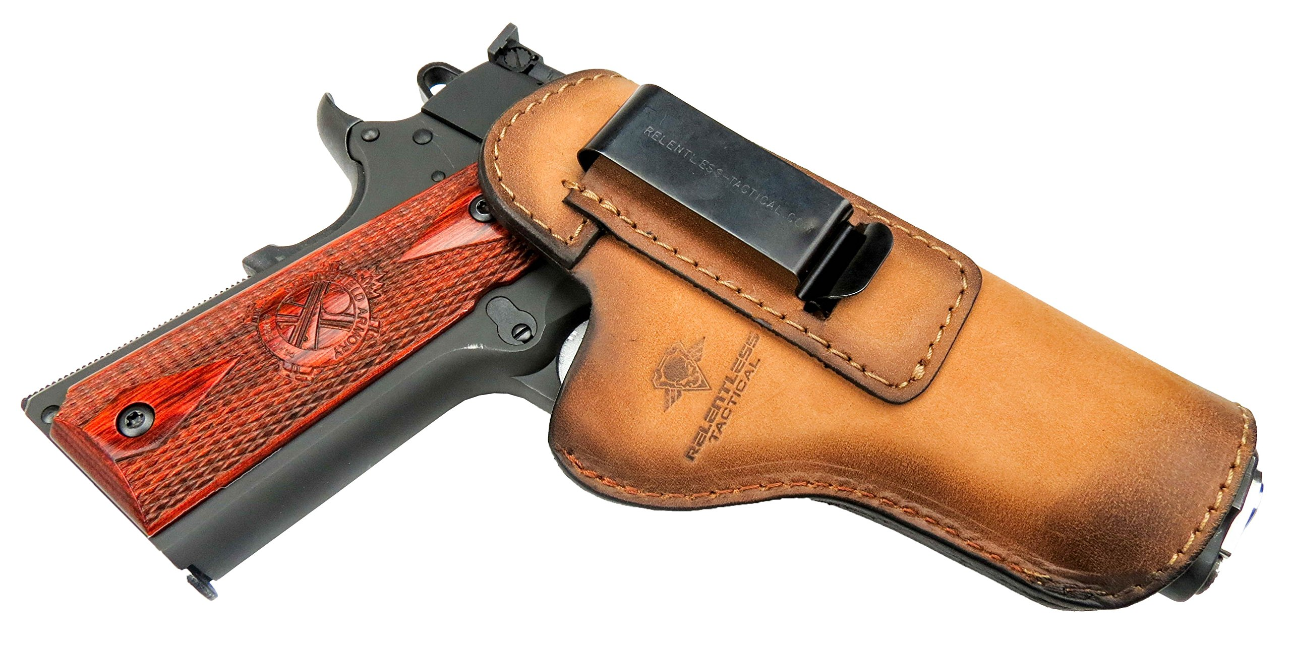 Relentless Tactical The Defender Leather IWB Holster - Fits Most 1911 Style Handguns - Kimber - Colt - S & W - Sig Sauer - Remington - Ruger & More - Made in USA - Charred Oak Right Handed